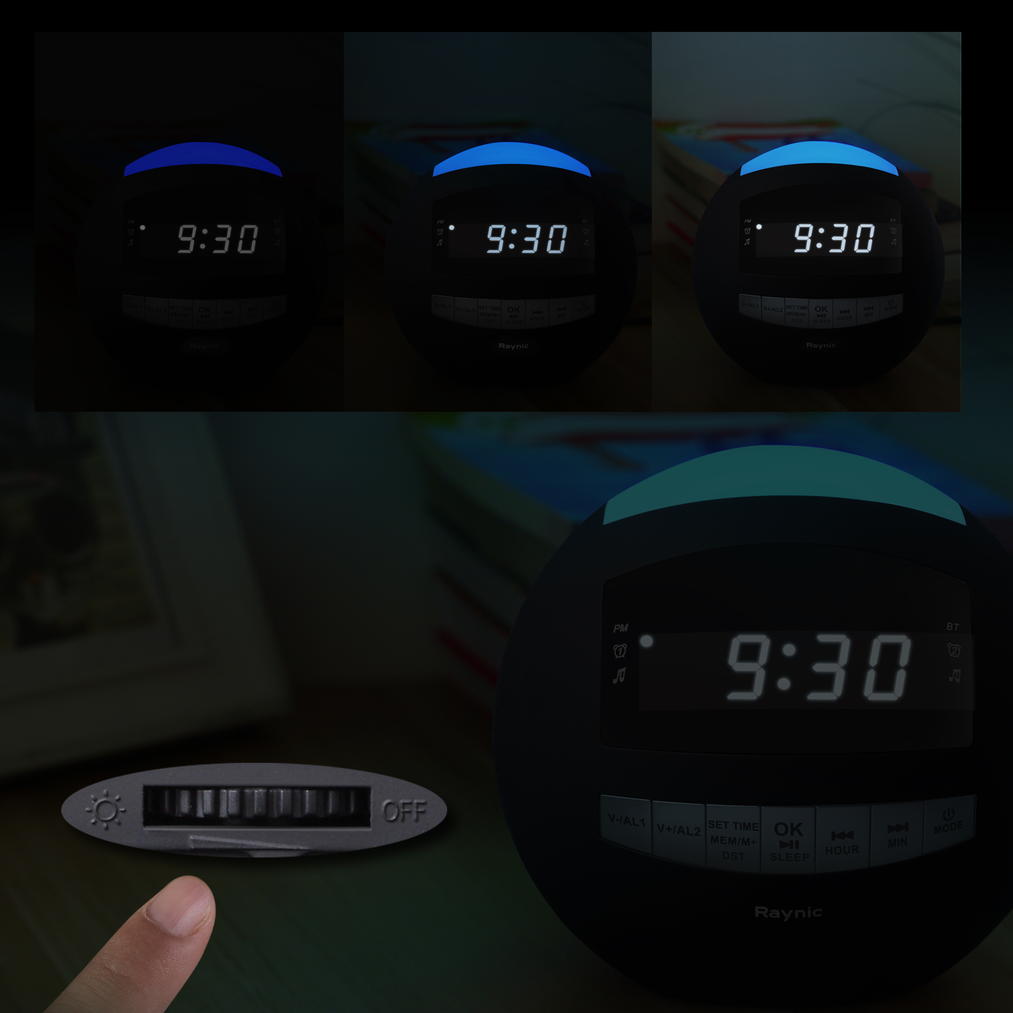 Raynic Dual Alarm Clock Radio Sphere | Wireless Bluetooth Speaker w/ USB Charging Port, <br>